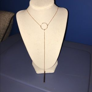 Express rose gold lariat style necklace